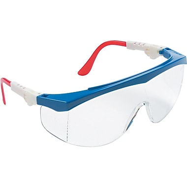 MCR Safety® ANSI Z87.1 Tomahawk® Safety Glasses, Clear/Red/White/Blue