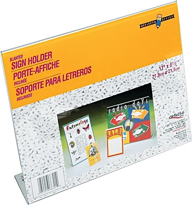 Staples® Slanted Sign Holder, Clear, 8 1/2