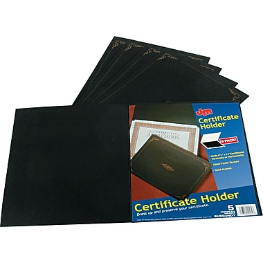 Linen Certificate Holders for 8-1/2x11 Documents, Black w/Gold Accents, 5/Pk