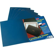Linen Certificate Holders for 8-1/2x11 Documents, Dark Blue w/Gold Accents, 5/Pk