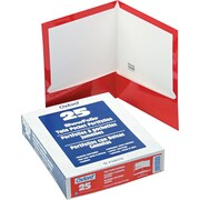"Oxford High-Gloss Laminated Portfolio, Red, 8 1/2"" x 11"", 25/Bx"
