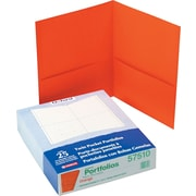 "Oxford Twin Pocket Portfolio, Orange, 8 1/2"" x 11"", 25/Bx"
