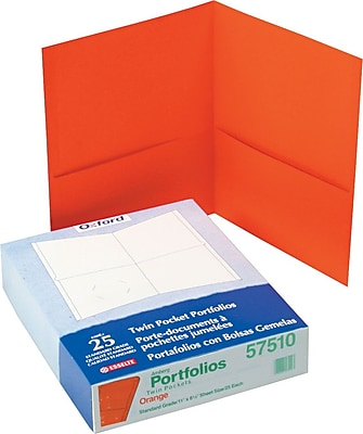 Oxford® Twin-Pocket Folders, Orange, 25/Box
