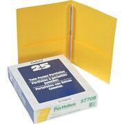 """Oxford Twin Pocket Portfolio with Fasteners, Yellow, 11"""" x 8 1/2"""""""