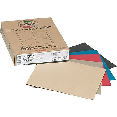 EarthWise Recycled Twin Pocket Portfolio, Assorted Colors, 8 1/2