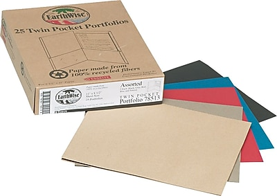 Esselte® EarthWise® 100% Recycled 2-Pocket Folder with Business Card Holder, Assorted
