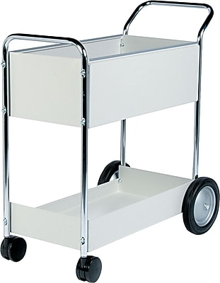 Fellowes® Steel Mail Cart, Dove Grey, 39