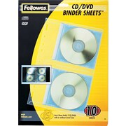 Fellowes Binder Sheets for CDs, 2/Sheet, 10/Pack