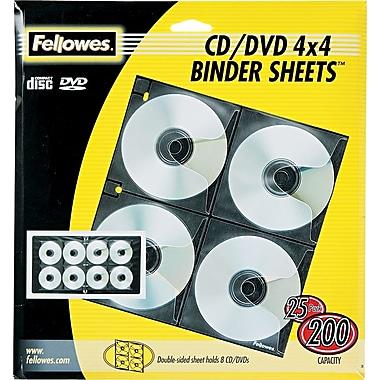 Fellowes® CD/DVD Binder Sheets, Clear/Black, 25/Pk