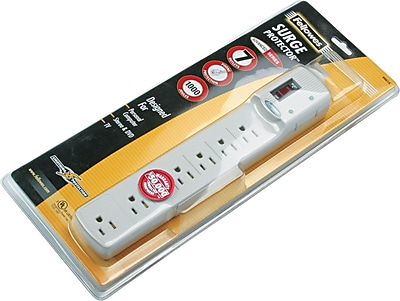 "Image of """"""Fellowes Surge Protector with Phone/Fax, 7-Outlet, 1,000 Joules, Platinum, 1-5/8""""""""H x 11-7/8""""""""W x 2-1/8""""""""D"""""""