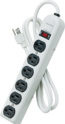 Fellowes® 6-Outlet Power Strips, 6' Cord, Metal Housing