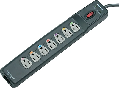 "Image of """"""Fellowes Power Guard Surge Protector, Phone/Fax/Modem, 7-Outlet, 1,600 Joules, Graphite, 1-3/4""""""""H x 2-1/2""""""""W x 14-1/4""""""""D"""""""