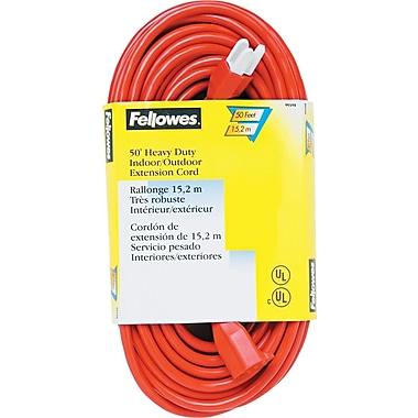 Fellowes® Heavy Duty Indoor/Outdoor Extension Cord, 50' Long, Orange