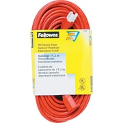 Fellowes® Heavy Duty Indoor/Outdoor Extension Cord, 50' Long, Orange