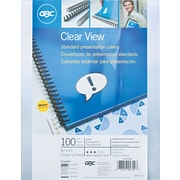 "GBC® Clear View Standard Presentation Covers, 11"" x 8-1/2"", Square Corners, 100/Pack"