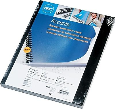 GBC® Solids Standard Presentation Covers, Black, 8-1/2