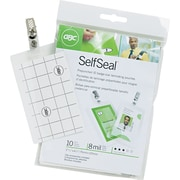 GBC® SelfSeal™ Clear Laminating Pouches, Vertical ID Badge Size with Clips