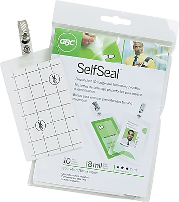 Swingline® GBC® SelfSeal™ Self Adhesive Laminating Pouches, Vertical Badge ID Size, 8 Mil, 10 Pack