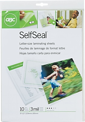 Swingline® GBC® SelfSeal™ Self-Adhesive Laminating Sheet, Letter Size, Glossy, 10 Pack (3747308)