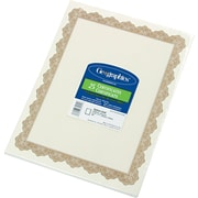 "Geographics Blank Award Certificates, 60-lb., Gold with Golden Seal, 8 1/2""H x 11""W, 25/Pack"