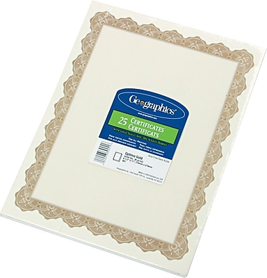 geographics blank award certificates, 60-lb., gold with golden seal