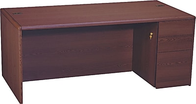 HON® 10700 Series Full-Height Right Pedestal Desk, Mahogany
