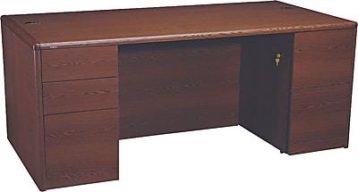 HON® 10700 Series Full-Height Double Pedestal Desk, Mahogany