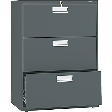HON Brigade 600 Series 3 Drawer Lateral File, Charcoal,Letter/Legal, 30''W (HON673LS)