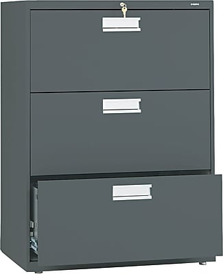 HON® Brigade® 600 Series 3 Drawer Lateral File Cabinet, Charcoal, 30