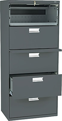 HON® Brigade® 600 Series 5 Drawer Lateral File Cabinet, Charcoal, 30