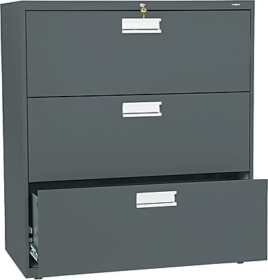 HON Brigade 600 Series Lateral File Cabinet, A4/Legal/Letter, 3-Drawer, Charcoal, 36