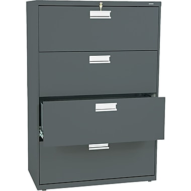 HON® Brigade 600 Series Lateral File Cabinet, A4/Legal/Letter, 4-Drawer, Charcoal, 19 1/4