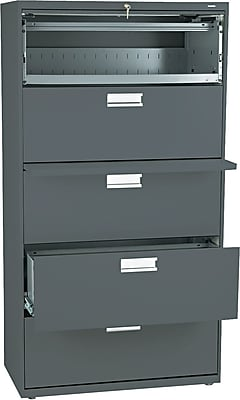 HON® Brigade 600 Series Lateral File Cabinet, A4/Legal/Letter, 5-Drawer, Charcoal, 19 1/4