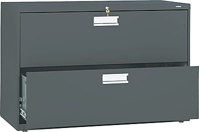 HON Brigade 600 Series Lateral File Cabinet, A4/Legal/Letter, 2-Drawer, Charcoal, 42