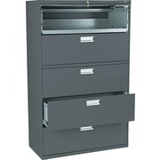 "HON Brigade 600 Series Lateral File Cabinet, A4/Legal/Letter, 5-Drawer, Charcoal, 19 1/4""D NEXT2017"