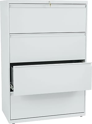HON Brigade 800 Series Lateral File Cabinet, A4/Legal/Letter, 4-Drawer, Light Gray, 19 1/4