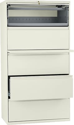 HON Brigade® 800 Series Lateral File, 5-Drawer with Roll-Out/Posting Shelves,67Hx36Wx19-1/4