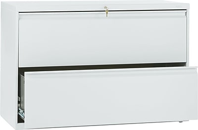 HON Brigade 800 Series Lateral File Cabinet, A4/Legal/Letter, 2 Drawer, Light Gray, 19 1/4