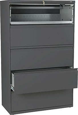 Hon® Brigade® 800Series 5-Drawer Lat File Cabinet w/Roll-Out/Posting Shelves, Char, Lttr/Lgl (895LS)