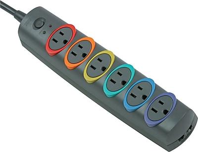 Kensington® SmartSockets® Premium Strip Surge Protector, 6-Outlet, 1260 Joules