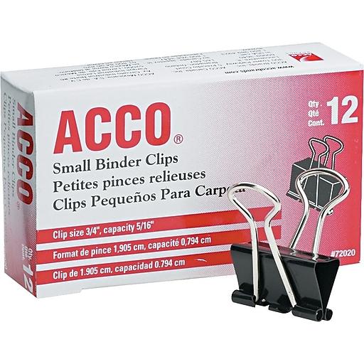 acco 72020 binder clip small 5 16 capacity black silver 12 pk