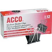 "Acco® ACC72050 Binder Clip, Medium, 5/8"" Capacity, Black/Silver, 12 PK"