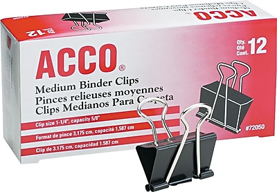 ACCO® Medium Binder Clips, Black, Dozen (A7072050B)