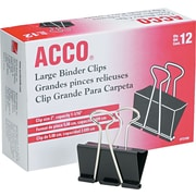 "Acco® 72100 Binder Clip, Large, 1.06"" Capacity, Black/Silver"