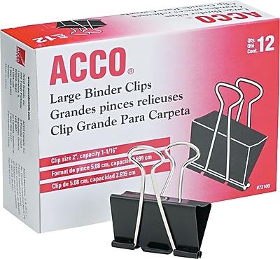 ACCO® Large Binder Clips, Non-Slip Grip, Dozen (72100)