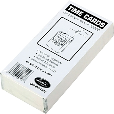 Lathem Time Cards for Model 7000E Time Clock 7.25 in. H x 3.375 in. W, 100/Pack