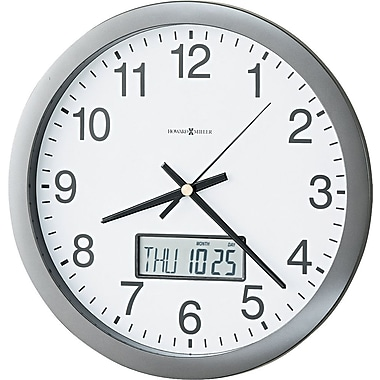 Howard Miller® Chronicle Wall Clock with LCD Inset, Gray, Analog (625-195)