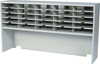 Mayline Kwik-File Mailflow-to-Go™ One-Tier Sorter with Riser, 25 Compartments, Pebble Gray, 33 1/4