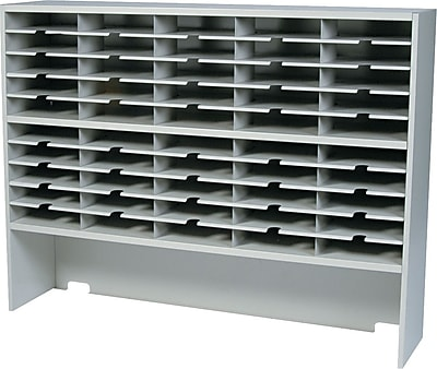 Mayline Mailflow-To-Go Two-Tier Sorter with Riser, 50 Pockets, Pebble Gray, 46 1/4