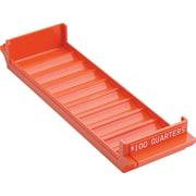 "MMF Industries™ Porta-Count® Rolled Coin Storage Tray, Orange, $100 Quarters, 1 5/8""H x 3 3/8""H x 11 1/2""D"